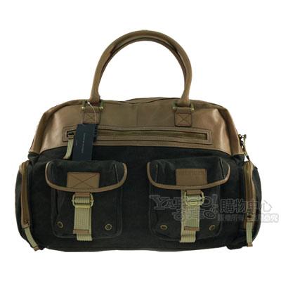 【Tommy Hilfiger】美國學院風石染帆布率性手提包-(黑)