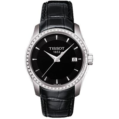 TISSOT T-Trend Couturier Lady 時尚簡約鑽錶-黑/32mm T0352106605100