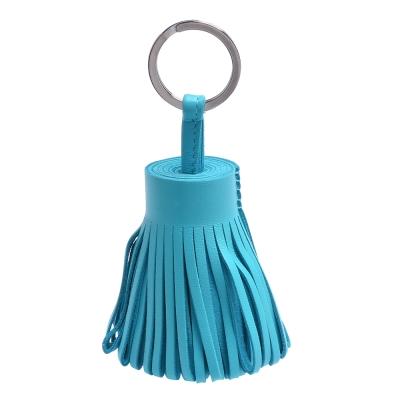 HERMES 流蘇造形山羊皮鑰匙圈手袋吊飾(粉藍色)