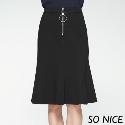 SO NICE圓環拉鍊造型及膝裙