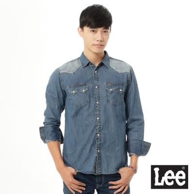 Lee  牛仔肩膀拼接長袖襯衫/101+-男款-藍色