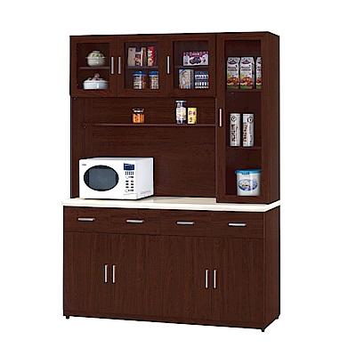 品家居 希貝5.3尺胡桃木紋石面餐櫃組合-160.2x43x211cm免組