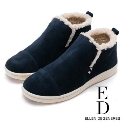 ED Ellen DeGeneres 溫暖麂皮平底低筒靴-絨藍