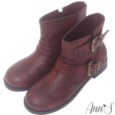 Ann'S復古擦色古銅雙帶圓頭平底短靴-酒紅