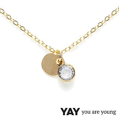 YAY You Are Young 法國品牌 Sultane 透明水晶項鍊 金色