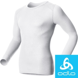 瑞士【Odlo】152022 男銀離子圓領保暖衛生衣(白)