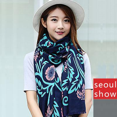Seoul Show 花蔓流動人織棉圍巾大披肩
