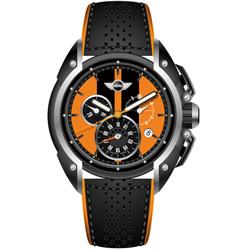 MINI Swiss Watches 熱血剽悍三眼計時腕錶-橘x黑-45mm