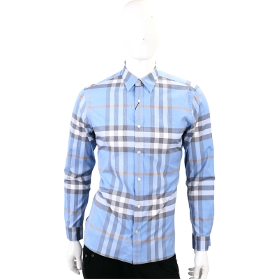 BURBERRY 格紋棉質長袖襯衫(男款/水藍色)