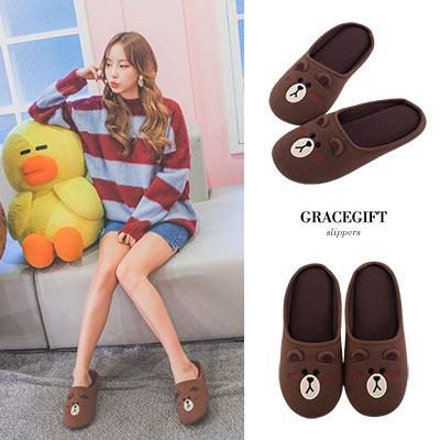 Grace gift│LINE FRIENDS-熊大保暖室內拖鞋