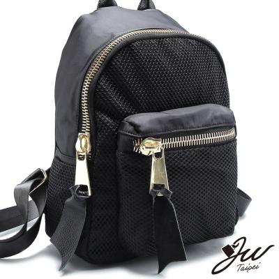 JW-後背包-方程網格牛皮配尼龍大拉鍊後背包-共一