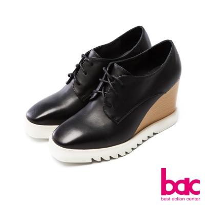 bac中性風尚方頭紳士綁帶楔形厚底深口鞋黑