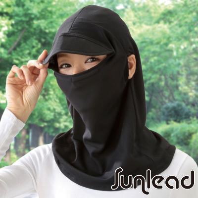 Sunlead 日本製。接觸涼感防曬吸濕頭罩式護頸遮陽軟帽 (黑色)