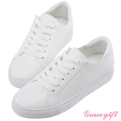 Grace gift-後撞色綁帶微厚底休閒鞋 白