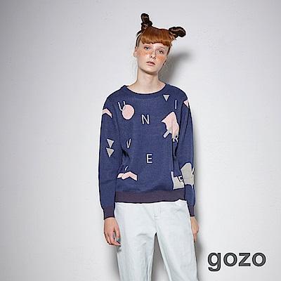 gozo-幾何圖形字母撞色印花上衣 (二色)