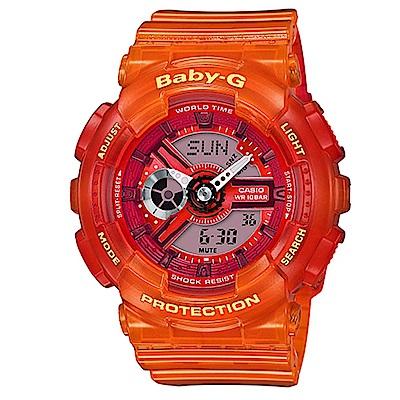 BABY-G果凍色澤混色漸層設計沁夏風格休閒錶( BA-110JM-4A)-橘/43.3m
