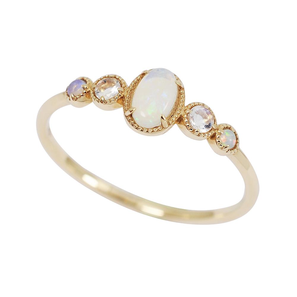 agete日本精品珠寶 蛋白石鑲鑽K10金色戒指