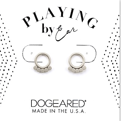 Dogeared CIRCLE 迷你豆豆耳環 銀色小圓貼耳式耳環 附原廠盒