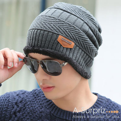 A-Surpriz 帥氣縫標滾毛邊針織帽(灰)
