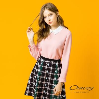 OUWEY歐薇 甜美優雅配色領片上衣(粉)