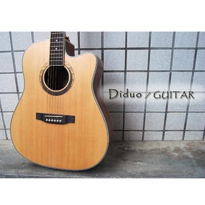 Diduo  41 吋 A級雲杉木 單板 木吉他 吉他,啞光木紋質感、象牙白條包邊,民謠
