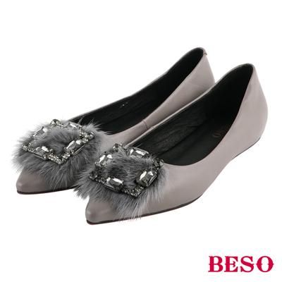 BESO 璀璨星光 水鑽方型釦毛毛尖頭平底鞋~灰