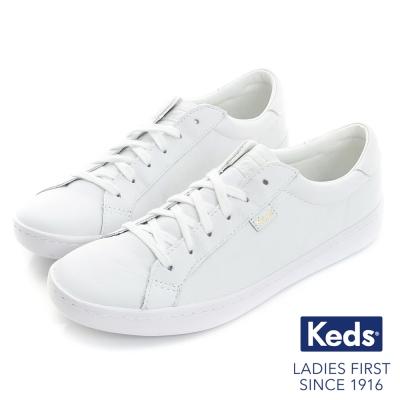 Keds 復古運動皮質綁帶休閒鞋-全白