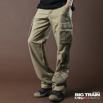 BIG TRAIN-日式繡龍工作長褲-土黃