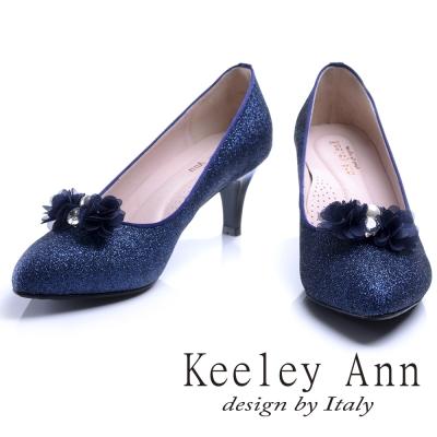 Keeley Ann 甜美新娘可拆式晶鑽花兒飾釦真皮軟墊中跟鞋(藍色)