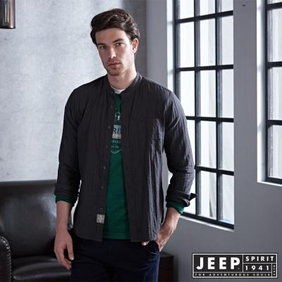 JEEP 時尚亨利領長袖襯衫 深灰 -合身版