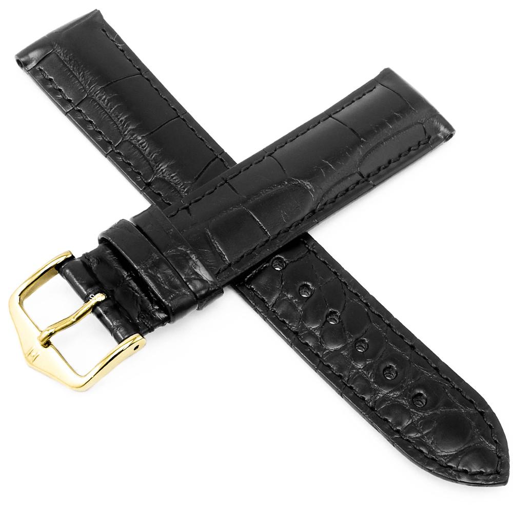海奕施 HIRSCH Gen.Alligator L 絲質光澤鱷魚皮錶帶 防水可清洗-黑