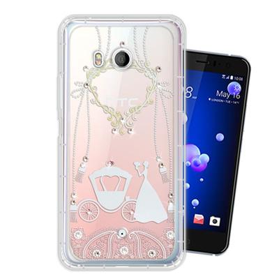 WT HTC U11 奧地利水晶彩繪空壓手機殼(精靈捧花)