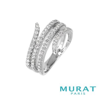 MURAT Paris米哈巴黎 時尚渦流滿鑽寬版戒指