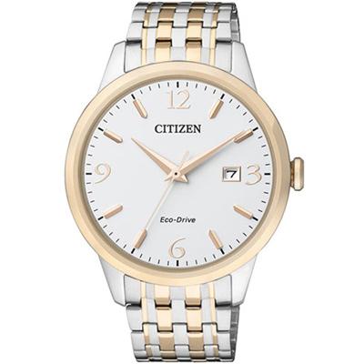 CITIZEN 星辰 時尚簡約光動能腕錶(BM7304-59A)-銀x玫瑰金色/40mm