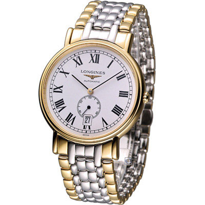 LONGINES-Presence-獨立式小秒針機械錶-雙色款-38-5mm
