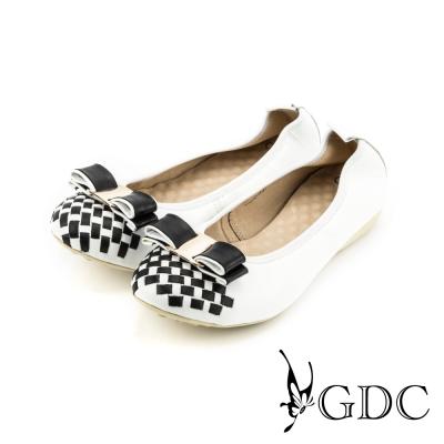 GDC-蝴蝶結雙色編織格紋彈力舒適真皮平底娃娃鞋-白色