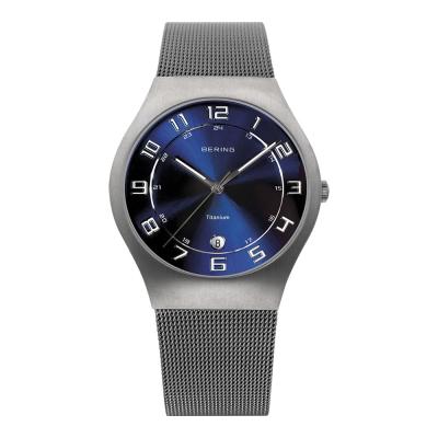 BERING丹麥精品手錶 日期顯示鈦合米金蘭錶帶系列 銀x北歐藍37mm