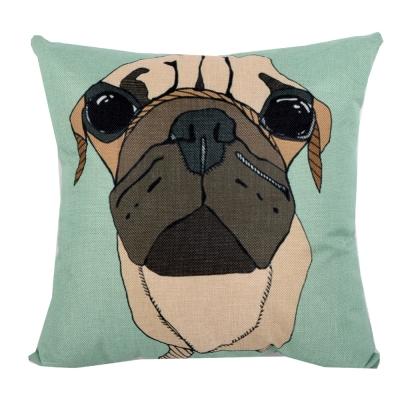 動物家族 棉麻舒適方型抱枕.靠枕 (果綠巴戈)