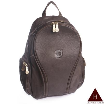 H-CT-深咖啡色多夾層設計款真皮後背包-0319