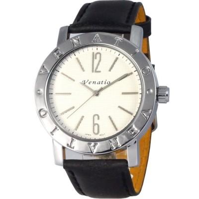 Venatio 雅痞風尚簡約中性腕錶-白x黑錶帶/42mm