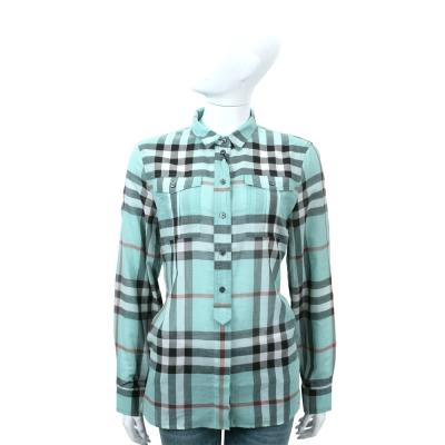 BURBERRY 水綠色開襟細節設計格紋棉質襯衫