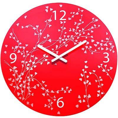 KOZIOL 愛情樹壁面時鐘-透紅/45cm