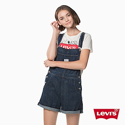 吊帶褲 女款 牛仔短褲 藍色 - Levis