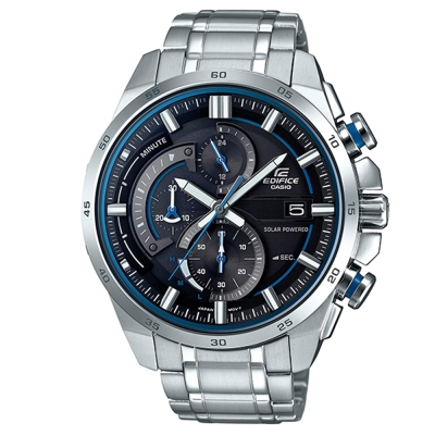 EDIFICE 流線速度3D感太陽能計時賽車錶(EQS-600D-1A2)-黑x藍圈49mm