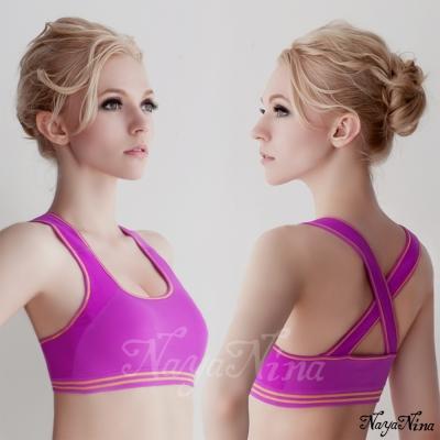 運動內衣 無鋼圈 交叉美背運動被背心S-XL(紫) Naya Nina