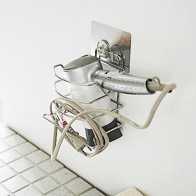 Home Feeling 304不鏽鋼吹風機架/加寬/髮絲紋貼-15x11x16cm