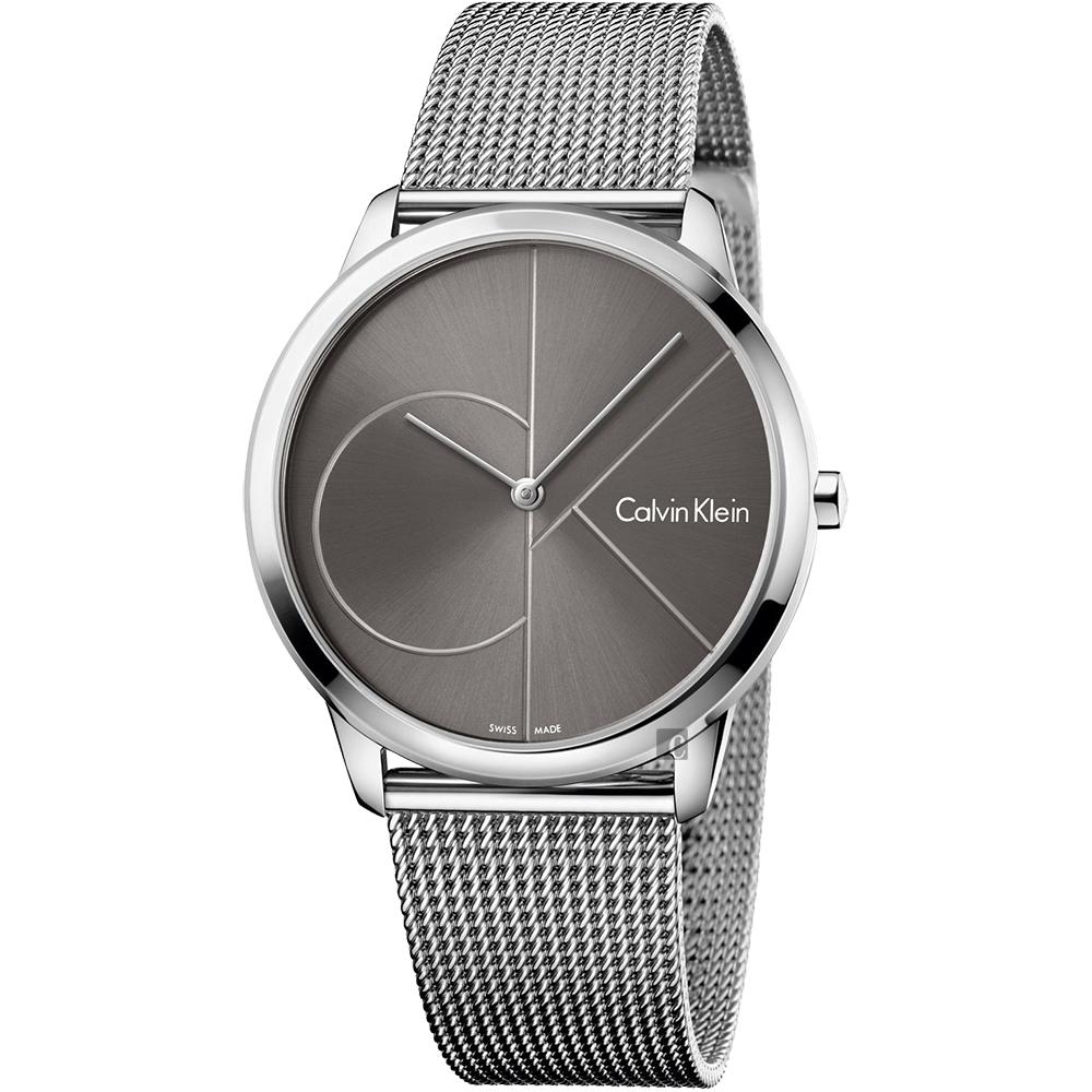 Calvin Klein CK Minimal 經典大LOGO手錶-灰x銀/40mm