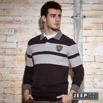 JEEP 運動時尚黑灰撞色領POLO衫 (合身版)