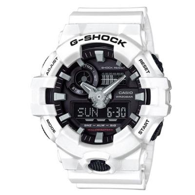 G-SHOCK創新突破金屬感搶眼視覺休閒錶(GA-700-7A)黑面X白53.4mm
