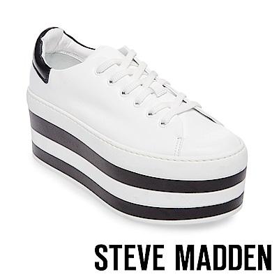 STEVE MADDEN-SOURCE 綁帶雙色厚底鞋-白色